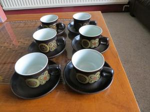Denby Arabesque tea cups and saucers