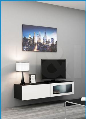 NEW IN BOX VIGO WALL MOUNTED TV UNIT WHITE/BLACK GLOSS