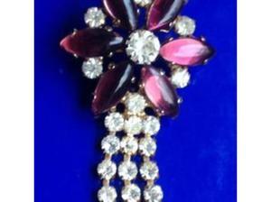Ladies Jewellery Gold Enamel Purple Amethyst & C.Z Brooch.