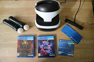 Sony PlayStation VR Headset, camera, move controllers, game