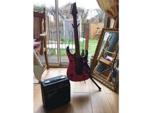 Ibanez guitar pink and black and amp in Southampton