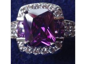 Ladies Jewellery Silver Purple Amethyst & white Topaz Ring