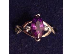 Ladies Silver Purple Amethyst & C.Z Ring. in Wells