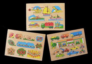 VINTAGE WOODEN PUZZLES FOR CHILDREN, SET OF THREE