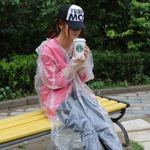 Adult Raincoat Clear Waterproof Plastic Disposable Rain