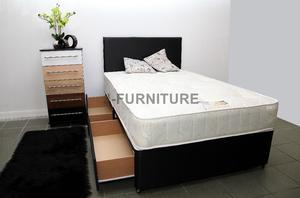 Brand New All Sizes Divan Bed Base With Any Type Of Mattress.Best Deals Online! Headboard Storage
