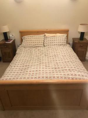 Oak double sleigh bed and mattress