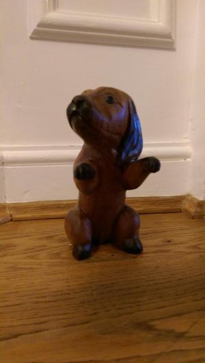 Solid wood carved dog