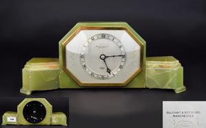 Art Deco Period Elliot Onyx Mantle Clock of Good Lines and P