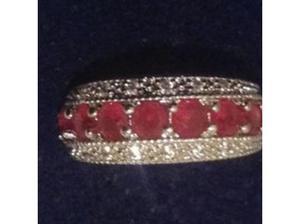 Ladies Sterling Silver Ruby & C.Z Half Eternity Ring Fully