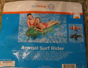 True Living Animal Surf Rider Swimming Pool Float Crocodile