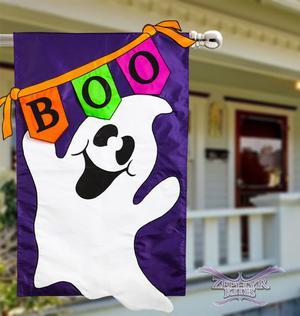 Boo Ghost house flag double sided applique Halloween flag