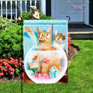 "Cat Patrol garden flag 12"" x 18"" Evergreen cat flag kitten"
