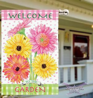 "Garden Blossoms house flag 29"" x 43"" floral flag flowers"