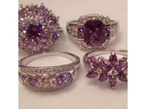 Ladies Jewelry job Lot 4x Sterling Silver & White Topaz Ring