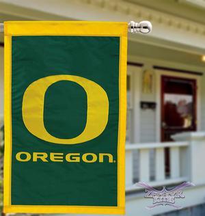 "OREGON DUCKS flag 28"" X 44"" applique Ducks flag Oregon Ducks"