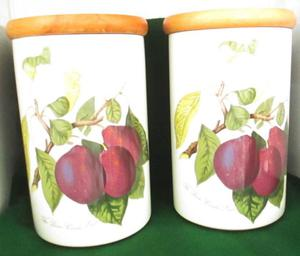 PAIR OF VINTAGE PORTMEIRION POMONA LARGE STORAGE JARS