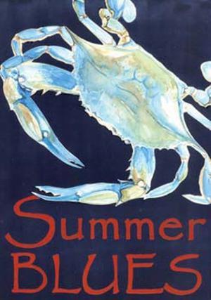 Summer Blues Blue Crab Garden Flag Banner GF 18 Inches