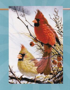 "WINTER PORCH SIZE DECORATIVE FLAG 28"" X 40"" 2 CARDINAL BIRDS"