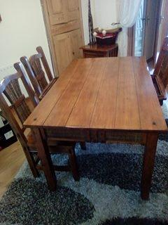Dining table and 4 chairs solid wood with built in drawers
