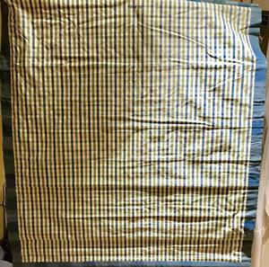 HANDMADE ROMAN BLIND WITH A LOVELY BLUE/GREEN CHECK ON CREAM