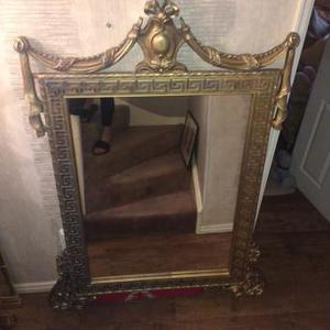 Ornate console table and matching mirror