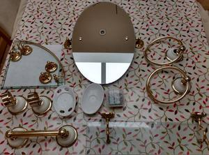Set of 9 white & gold bathroom accessories