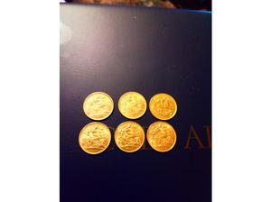 6x 22ct half sovereign coins in Chatham