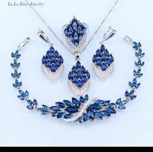 L&B New Blue crystal white zircon silver colour Jewellery sets