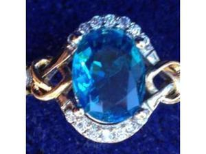 Ladies Jewelry Silver & Gold Topaz & C.Z Ring. in Wells