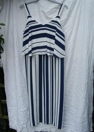 M&S Blue & White Stripe Dress - Size 16