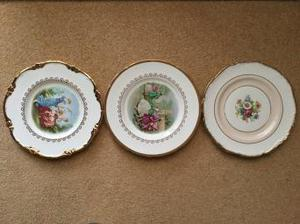 3 old decorative fine bone China plates