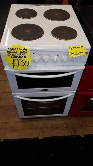 BELLING 50CM SOLID TOP ELECTRIC COOKER IN WHITE