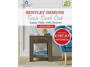 Bentley Designs Turin Dark Oak Lamp Table with Drawer |