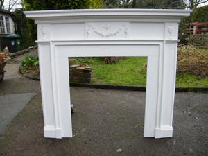 Fire surround pine white painted, 1.27mt wide x 1.16mt high x 12cm deep, Oppening 68.5cm W x 77cm H
