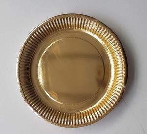 Gold Metallic Paper Plates 23cm. 12 Packs of 8 = 96 Plates