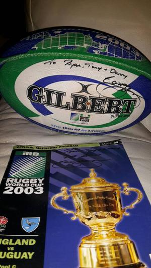 Rugby Ball and programme signed rugby world cup