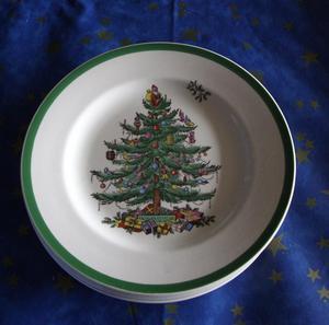 Spode Christmas Tree Plates x6 20 cm diameter