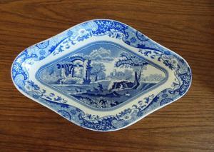 Vintage SPODE Blue Italian design Diamond shaped DISH