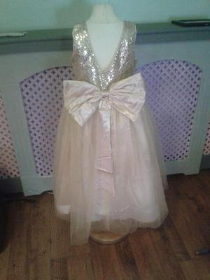 age 8 long champagne gold sequin dress with big bow nwt