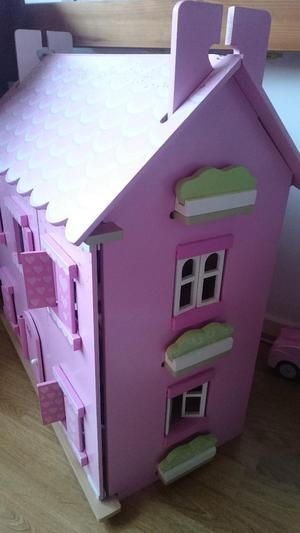 Wooden Dolls House Pink