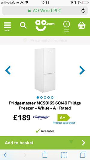 Brand new - still in box Fridgemaster Fridge Freezer