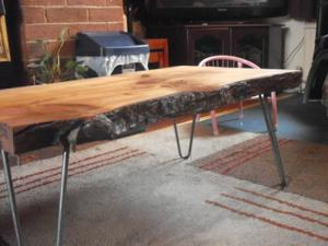 Live Edge Coffee Table With Hairpin Legs, Handcrafted, (New)