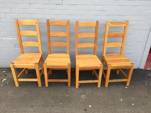 Set of 4 solid oak chairs (delivery available)