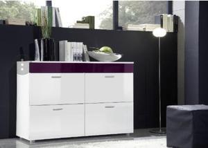 White High Gloss Sideboard with Stylish Purple Panel