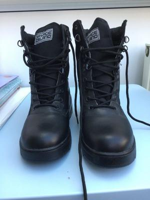 Combat boots and 2 pair of combat trousers