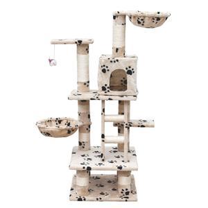 vidaXL Cat Play Tree 122 cm Beige with Paw Prints