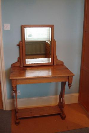 *** Antique Pine Dresser Table with Swing Mirror ***