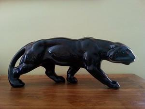 Beautiful Black Panther/Tiger Statue - Made in France during the Art Deco