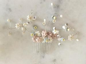 Marie Canning ceramic flower hair combs for sale